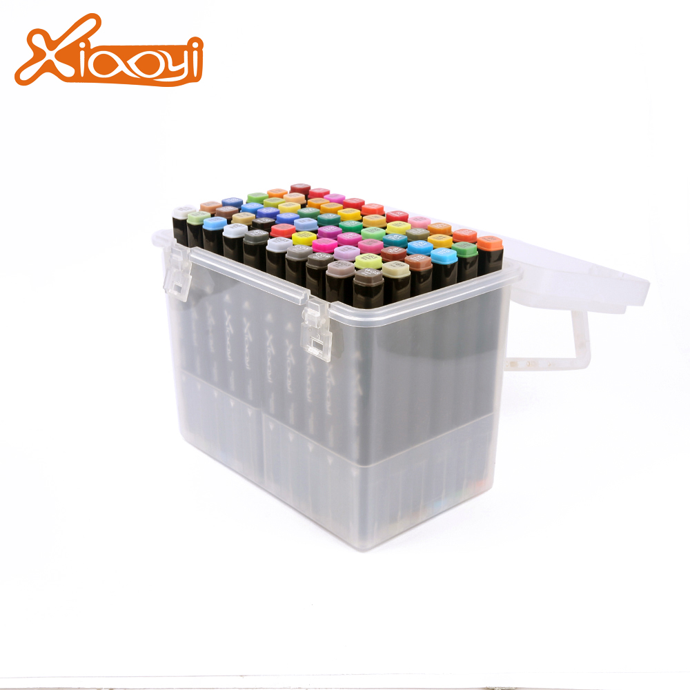 DIY students 60 colors drawing pen marker pen set with plastic box Featured Image